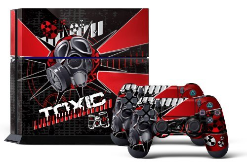 Tox System (PS4 Console Design Folie Aufkleber Sticker Skin fur Sony PlayStation 4 System plus Two(2) Decals for: PS4 Dualshock Controller - Toxcity Red)