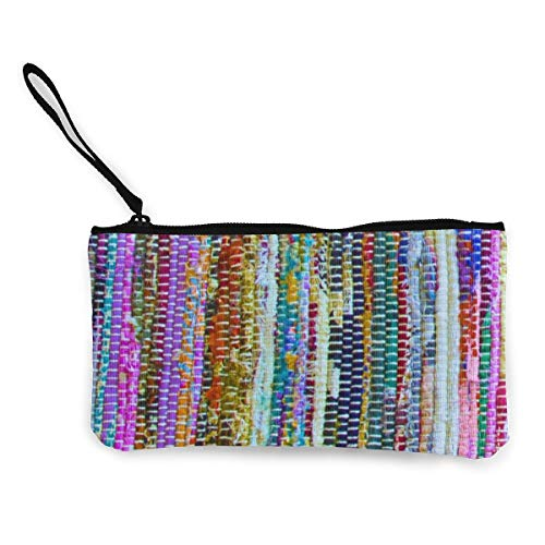 Colorful Sari Rug Print Multifunctional Portable Canvas Coin Purse Phone Pouch Cosmetic Bag,Zippered Wristlets Bag
