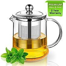 Tetera, tetera 350ml Tetera de cristal con infusor y posavasos de madera, para calentar y hornillo, seguro, colador de té para té y té, perfecto para una persona