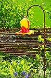 17 cm gross Gartenkugel Massivglas ROBUST, Tulpe Tropfen, Blume mit Hakenhalter Schäferstab FROSTSICHER & MASSIV Glas-Dekoration Blüte Gartentulpe Glocke Sonnenfänger für Lichteffekte im Garten, Rose