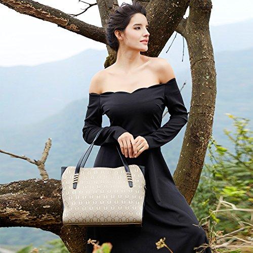 BOYATU echtes Leder Umhängetasche für Damen Top Handtasche Großes Kapazitäten Tote (Champagner Gold) Rote dates