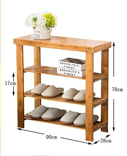 Étagères en bambou étagères en bambou étagères à bas prix en bois massif en bois massif étagères économiques étagères économiques salon de la maison armoire à chaussures ( Couleur : B , taille : 90cm )
