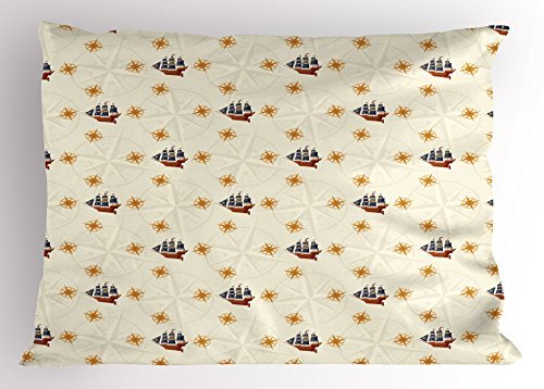 Lunarable Nautical Pillow Sham, Pirate Ship with Compass Wind Rose Figure Retro Old Cruising Sailor Coastal Print, Decorative Standard Size Printed Pillowcase, 26 X 20 inches, Multicolor