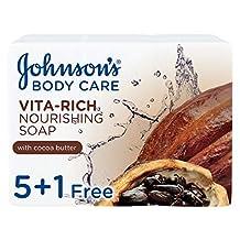 JOHNSON'S Body Soap - Vita-Rich, Nourishing Cocoa Butter, 125g, Pack of 6