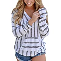 Geili Damen Stripe Loose Langarm Pullover Casual Strickwaren Bluse Tops Shirt preisvergleich bei billige-tabletten.eu