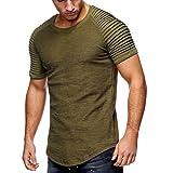 JL&LJ Herren T-Shirt Tops Baumwolle Rundhals Sommer Fashion Sports Shirts Oversize Kurzarm/Lange Ärmel Sweatshirt(Short-AG,l)