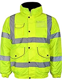 Mens High Visibility Jacket Hi Vis Bomber Jacket Padded Winter Warm Jackets Concealed Hood All Sizes S TO 6XL