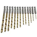 FUVOYA - Juego de 13 Brocas helicoidales (vástago Recto de Alta Velocidad, 1,5 a 6,5 mm, Herramientas de perforación de Metal de Aluminio), As Show