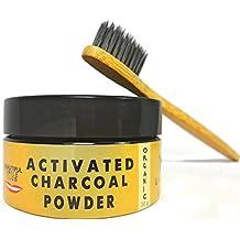 Blanqueador de dientes a base de polvo de carbón activo | Con cepillo de dientes de bambú.| 2 meses de suministro (30 gramos)