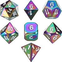 TecUnite Juego de 7 Dados Poliédricos de Arco Iris de Metal para Juego de rol Dungeons y Dragons RPG Dice Gaming D&D Enseñanza de Matemáticas con Bolsa de Cordón