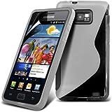 (Transparent) Samsung Galaxy S i9100 Schutzhülle S-Line Wave Gel Case Cover Skin & LCD Screen Protector Guard von Spyrox