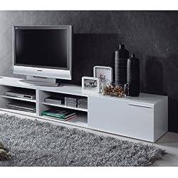 Habitdesign - Mueble comedor televisor bajo, una puerta y un estante color blanco brillo dimensiones 35 x 130 x 42 cm