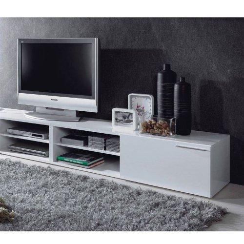 Habitdesign   Mueble comedor televisor bajo, una puerta y un estante color blanco brillo dimensiones 35 x 130 x 42 cm