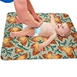 Zcfhike Baby Portable Diaper Changing Pad Maple Leaves Urinary Pad Baby Changing Mat 31.5' x25.5''