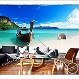 Zybnb Los Murales Personalizados En 3D, El Cielo Azul Mágico Y Las Nubes Blancas En El Paisaje De La Isla Del Lago, Sala De Estar, Sofá, Televisor En La Pared, Papel De Pared En El Dormitorio.