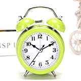 YLAXX Reloj Despertador De Escritorio,Reloj Despertador Digital para Niños,Despertador Analógico,Estudiante Pequeño Perezoso Creativo Simple Despertador Mudo Noche Luz Despertador, Trompeta Verde
