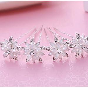 CYY Braut Kopfschmuck Legierung Perle Diamanten Blume weiße Haarnadel Platte Haar Hochzeit Zubehör Zubehör