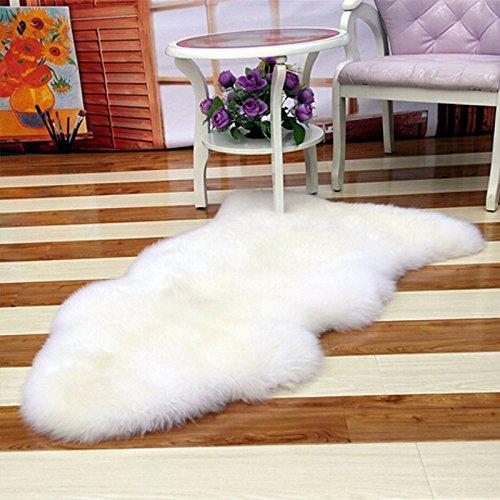 Kicode (Blanco) Para sala de estar Habitación de la cama Alfombra blanca de piel de oveja imitación