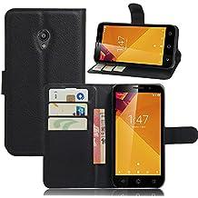 MYLB Elegante PU Flip funda de cuero para el Vodafone Smart Turbo 7 VFD500 con cierre magnético y función de soporte (Negro)