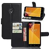 Vodafone Smart Turbo 7 VFD500 Handyhülle Book Case Vodafone Smart Turbo 7 VFD500 Hülle Klapphülle Tasche im Retro Wallet Design mit Praktischer Aufstellfunktion - Etui Schwarz
