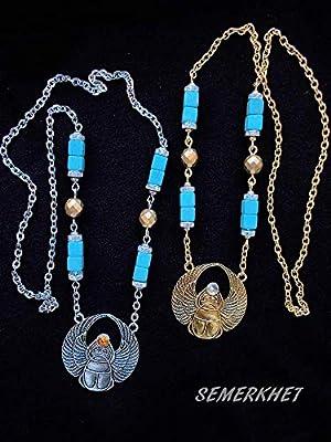Collier à grand scarabée égyptien avec turquoise