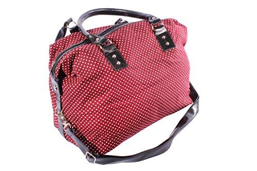 Polka Dots rockabilly Punkte Weekender Shopper Handtasche weinrot -