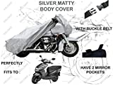 #7: Volga Silver Bike Body Cover With Mirror Pocket For Honda Dio