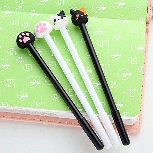 Bestim Incuk 8Stück Cute Cat Kitty Gel Roller Ball Pens, 0,38mm extra feine Spitze, Schwarz, mit Schreibwaren Büromaterial Zurück in die Schule gfit Geburtstag 4 Pack Cat & Paw Prints- 0.5mm -