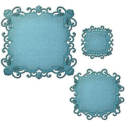 Spellbinders-Etichette 49 elementi decorativi, motivo: elementi Nestabilities connettore quadrato, colore: marrone