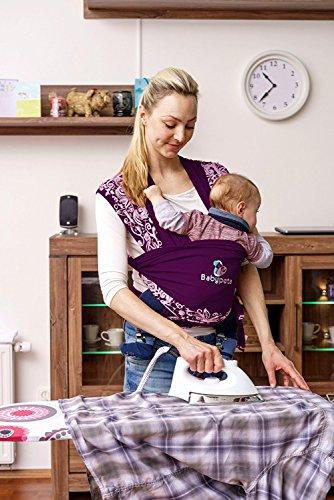 Halten sie ihr Kleinkind ruhig & bleiben sie dabei freihändig - stylisches multifunktionales Babytragetuch - Baumwoll Tragetuch für Neugeborene und Kleinkinder - Tragetasche inklusive - LILA - 5
