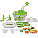 ROXA 10 In 1 Plastic Manual Food Processor / Dough Maker / Atta Maker / Vegetable Cutter / Slicer / Grater / Cutter
