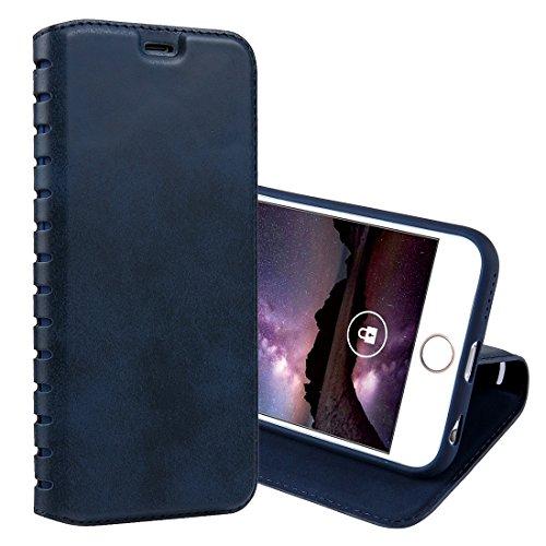GHC Cases & Covers, Für iPhone 6 & 6s, PU-Retrostruktur mit Absorption Horizontaler Schlag-Leder-Kasten mit Halter u. Karten-Schlitzen ( Color : Black ) Blue