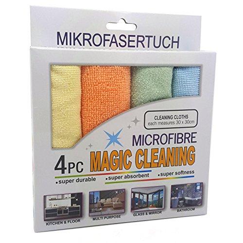 Preisvergleich Produktbild 4er Set 30 cm x 30 cm Mikrofasertuch Microfibre Magic Cleaning Polier Universal Autopflege Tuch