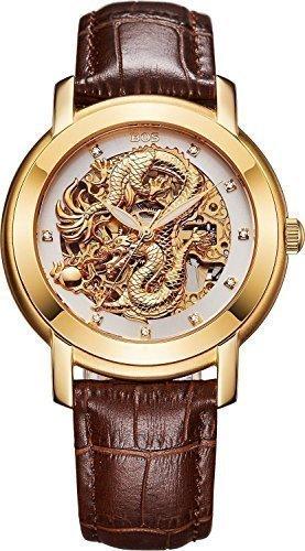 Angela bos Hombre Hollowed Dragón Chino mecánico Resistente al agua muñeca reloj blanco Dial marrón Novilla banda