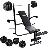 Physionics Weight Bench 4-position Backrest Set of 30 kg Dumbbell + 60 kg Barbell