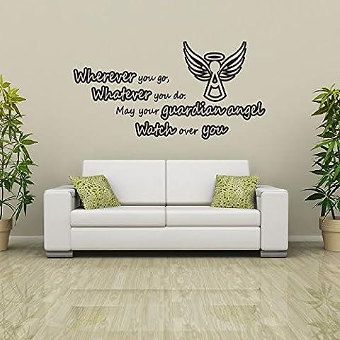 Guardian Angel Wall Sticker Religioso Adesivo Art disponibile in 5 dimensioni e 25 colori Extra Grande Bianco - Adesivo Religiosi