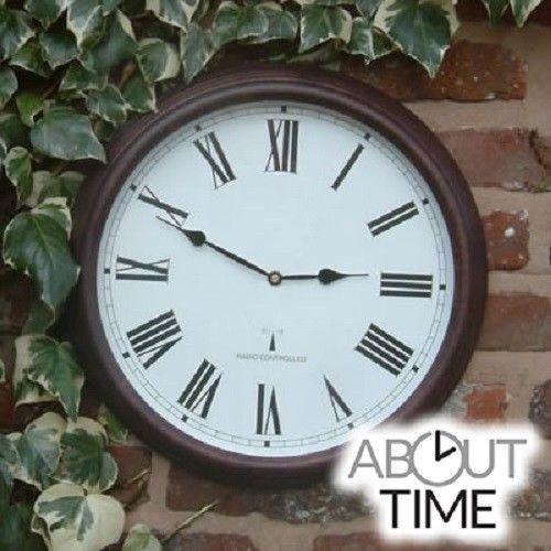About Time Funkuhr für den Außenbereich, Brauner Antikeffekt, 38cm