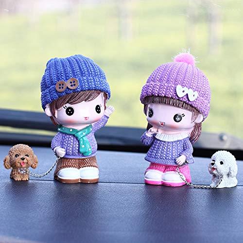 Auto Schaukeln Ziehen Hund Paar Puppe Harz Hund Puppe Kreative Auto Schmuck Handwerk Set Von Zwei Puppen 9,5 x 5,5 cm Schal halten Hund -