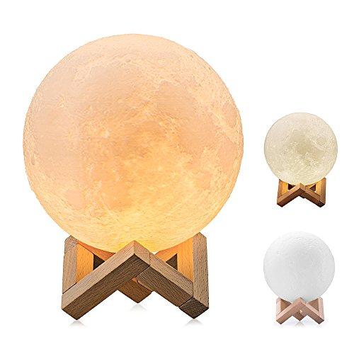 3D Lampada luna, luce lunare notturna a LED, lampada da tavolo, controllo tattile luminosità due toni, Luce Notturna per Bambini lampada da comodino Regalo per San Valentino Diametro 9cm