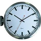 Orium 11544 - Reloj para pared con diseño de reloj de estación (acero inoxidable, doble cara, 37 x 10 x 34 cm)