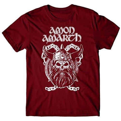 T-shirt Uomo Amon Amarth - Viking Skull - Maglietta 100% cotone LaMAGLIERIA,M, Burgundy