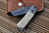 Couteau pliant Damas sur mesure - Couteau de poche Lame Tanto