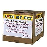 Love my Pet - Einstreu für Kleintiere, Miscanto; Elefantengras; Chinagras Häcksel, praktische und günstige Alternative zu Stroh, Hygieneeigenschaften - extrem saugfähig, 32 Liter 4,5 kg (Small)