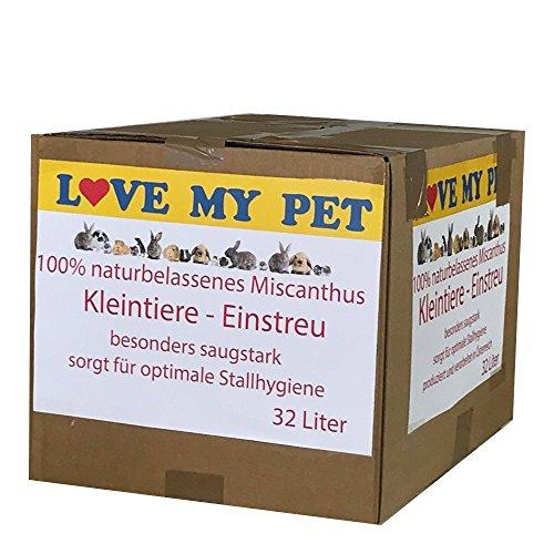 Love my Pet - Einstreu für Kleintiere, Miscanto; Elefantengras; Chinagras Häcksel, praktische und günstige Alternative zu Stroh, beste Hygieneeigenschaften - extrem saugfähig, Small - 32 Liter 4,5 kg (Small)