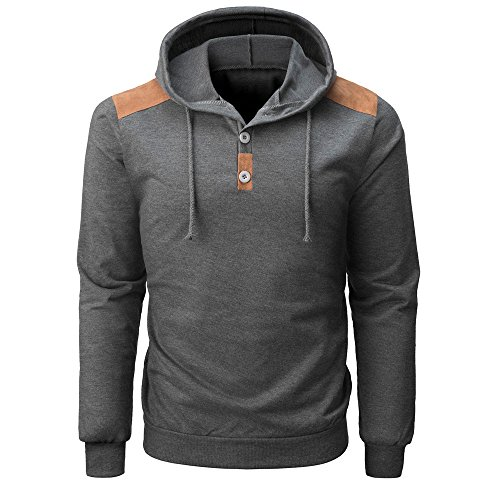 IMJONO Herrenkleidung Men es Spring Long Sleeve Buttons Hooded Sweatshirt Tops Blouse(Large,Grau)