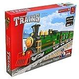 Jouet Train À Vapeur Vert Avec Deux Wagons 666 Pièces Et Rails 11 Pièces #25904