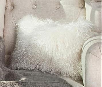 jin san xiang new white 100 real mongolian lamb wool fur cushion cover decorative pillowcase