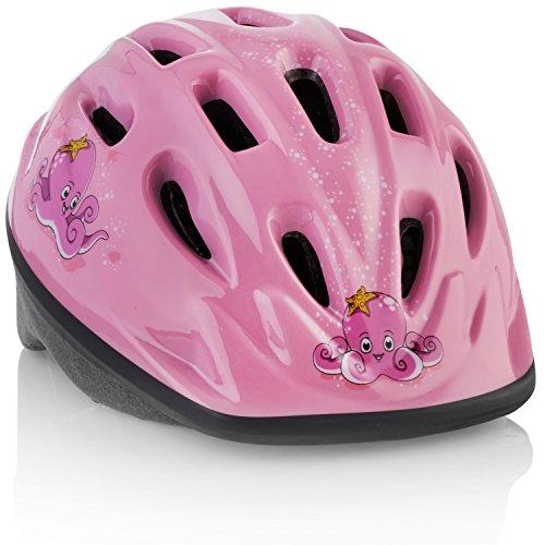 Casco Per Bicicletta PER BAMBINI [Polipo Rosa] – Regolabile per Bambini dai 3 ai 7 anni – Resistente, con Divertenti Disegni Marini per Bambino e Bambina – Certificato CE per Sicurezza e Comfort