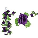 Künstlich Rose Blatt Efeu Girlande Blumen Dekoration (Dunkel Lila)