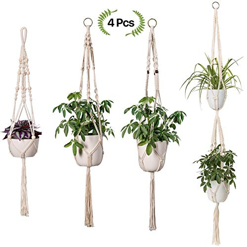 Funyu 4 Stück Macrame Blumenampel Pflanzen Kleiderbügel in Verschiedenen Designs Handmade Hängeampel Indoor Outdoor Baumwoll Aufhänger Wandbehang Blumentopf Aufhängen Halter für Modern Boho Home Decor